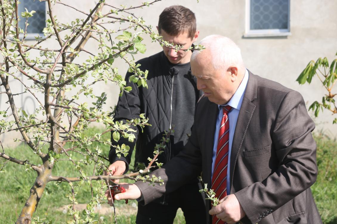 Іван Туряниця зі студентом доглядають факультетську яблуню