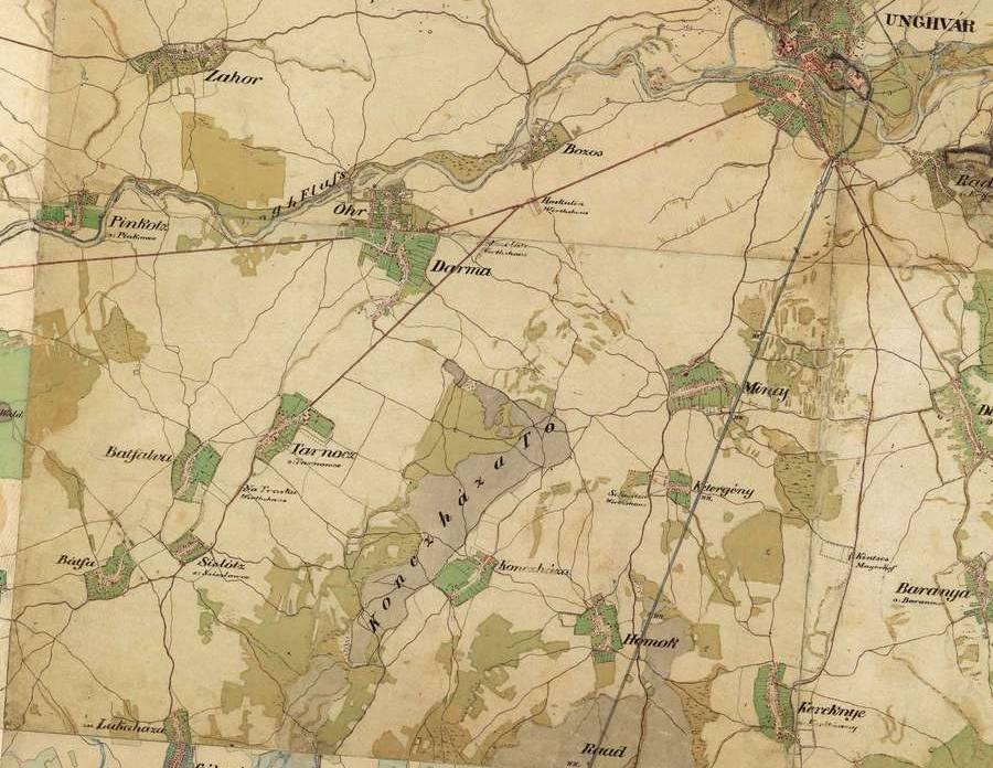 Карта із зображенням Ужгорода і всіх сіл, що фігурують у книзі, ХІХ століття.
